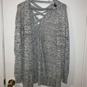 Cross cross tie back grey cardigan